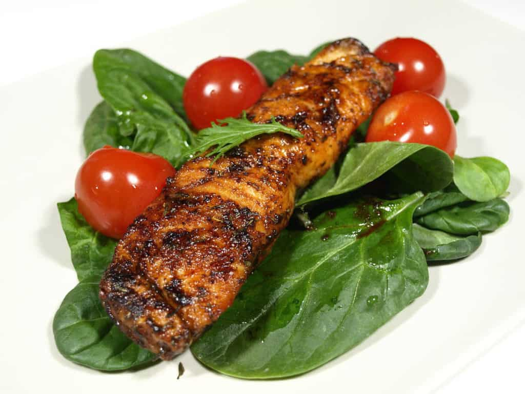 Grilled Salmon with Tomatoes