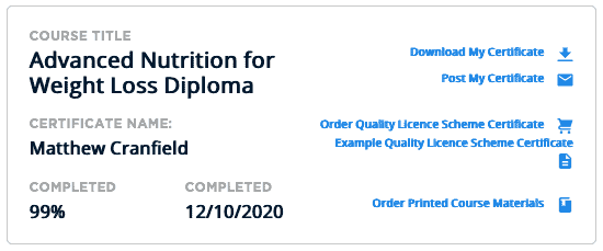 Advanced nutrition for weight loss diploma course completion cert