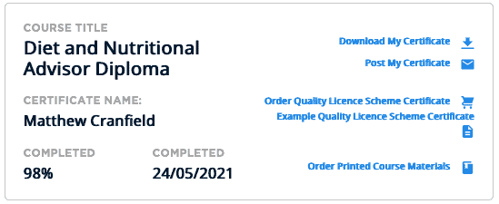 Diet and nutritional advisor diploma course completion cert