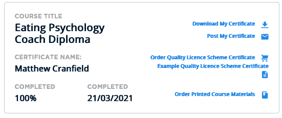 Eating psychology coach diploma course completion cert
